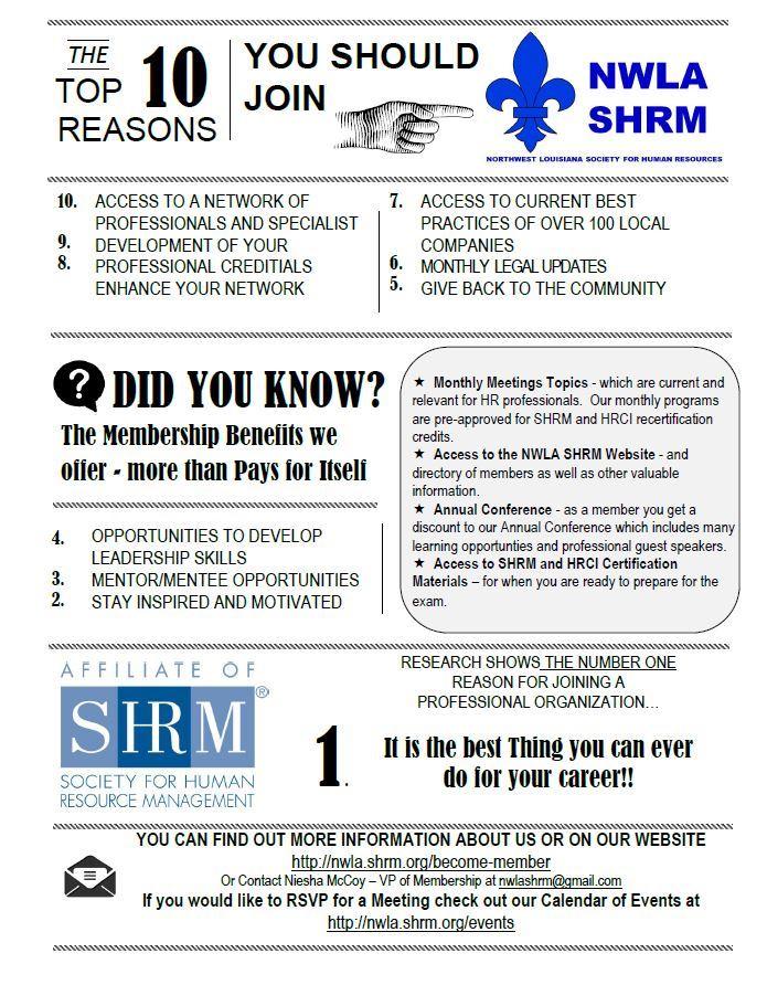 Northwest Louisiana Shrm Member Benefits